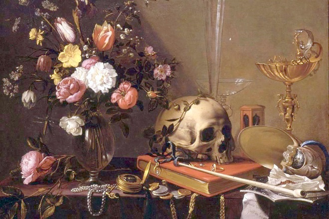 Vanitas - Still Life with Bouquet and Skull, Adriaen van Utrecht